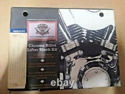 18088-02 Harley-Davidson Chrome Billet Lifter Block Kit Twin Cam 88 Softail Dyna