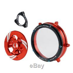 CNC Clear Clutch Cover Spring Retainer Plate Kit For Ducati Panigale1199 R S ABS