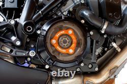 EVOTECH Abdeckung Kupplung + Andruckplatte Schwarz Orange KTM 1290 Super Duke R