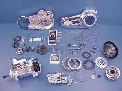 Polished 6-Speed Transmission & Drive kit, Chrome primary cover, Clutch, Starter